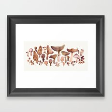 Watercolor Mushrooms Framed Art Print