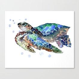 Sea Turtle, Green Blue, sea turtle under water, sky blue Canvas Print