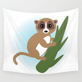 lemur on green branch on white background Wall Tapestry