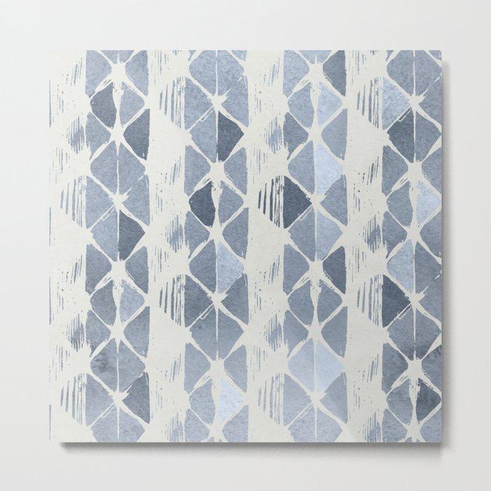 Simply Braided Chevron Indigo Blue on Lunar Gray Metal Print