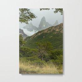 Tree and Mountain Metal Print