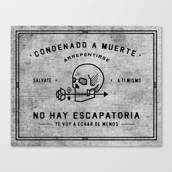 Condenado A Muerte - White Canvas Print