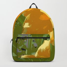 Yellow Daylily, spring flower, greenery Backpack