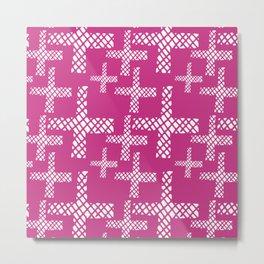 Neon pink white geometrical hand painted argyle crosses Metal Print
