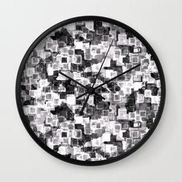White Cyber Glow Neon Squares Pattern Wall Clock