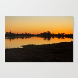 Silhouettes of trees at sunset in the field. Reflections on the lake at sundown. Canvas Print