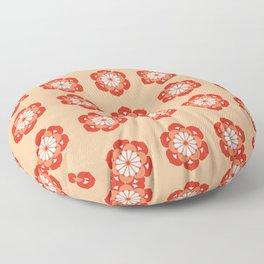 Lotus Flower Mandala, Pastel Orange and Mandarin Floor Pillow