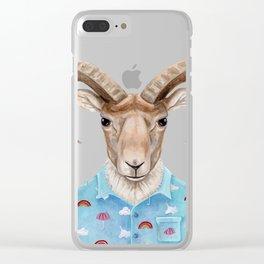 U is for a Urial with an Umbrella and Unicorn Patterned Shirt | Art Print Clear iPhone Case