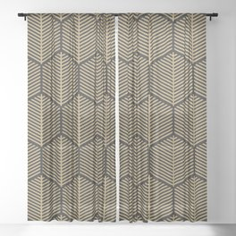 Hexagonal gold pattern 4 Sheer Curtain