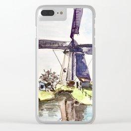 Dutch Windmill Netherlands Clear iPhone Case