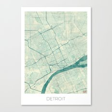 Detroit Map Blue Vintage Canvas Print