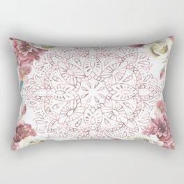 Mandala Garden Roses Warm Rose Gold Rectangular Pillow