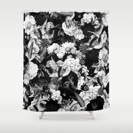 hummingbird paradise ethereal autumn flower pattern bw Shower Curtain