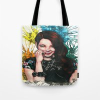 emma stone Tote Bags featuring Emma Stone by catscratchproject