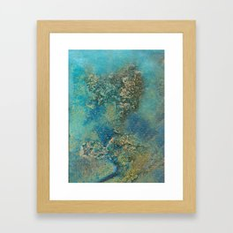 Blue And Gold Modern Abstract Art Painting Framed Art Print