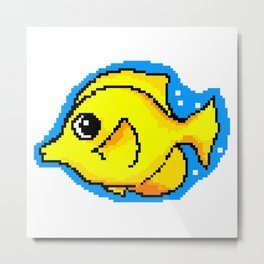8-Bit Pixel Art Yellow Tang Tropical Fish Metal Print