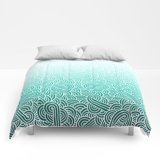 Ombre turquoise blue and white swirls doodles Comforters