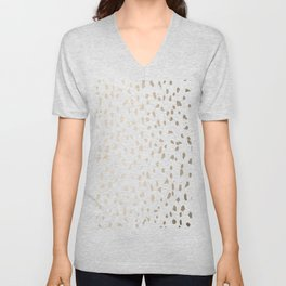 Luxe Gold Painted Polka Dot on White Unisex V-Neck