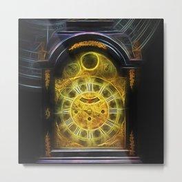 Fractal Glow clock fluorescent Metal Print
