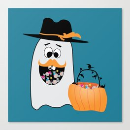 Silly Halloween Ghost Wants Your Candy Canvas Print