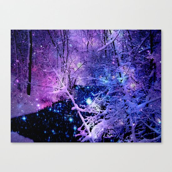 Cosmic River Galaxy Forest Canvas Print