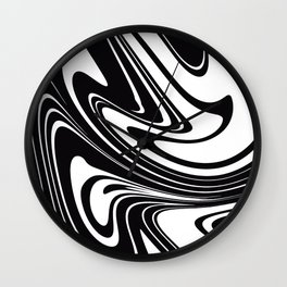 Modern Black and White Marble Print Wall Clock
