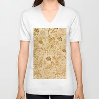 floral pattern V-neck T-shirts featuring Floral pattern by nicky2342