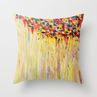 Throw Pillows featuring OPPOSITES LOVE Raining Sunshine - Bold Bright Sunny Colorful Rain Storm Abstract Acrylic Painting by EbiEmporium