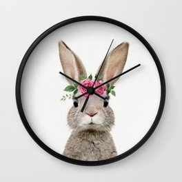 Baby Rabbit with Flower Crown Wall Clock