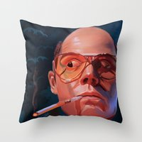 fear and loathing Throw Pillows featuring Fear & Loathing by RileyStark