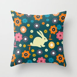 Rabbit and some flowers Throw Pillow