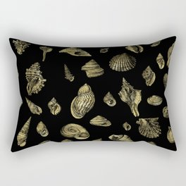 Sea shells pattern gold on black 1 Rectangular Pillow