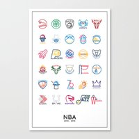 nba Canvas Prints featuring NBA Teams logos by Will Wild