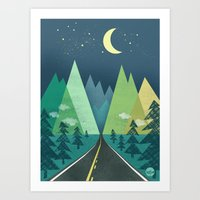 road Art Prints featuring The Long Road at Night by Jenny Tiffany