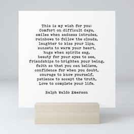 Ralph Waldo Emerson Quote, This Is My Wish For You, Motivational Quote, Mini Art Print