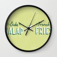 french fries Wall Clocks featuring Side Salad or French Fries by Daily Dishonesty