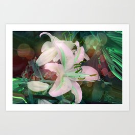 Auras Dancing with the Lilies  Art Print