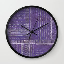 Tribal Ethnic pattern silver on  purple Wall Clock