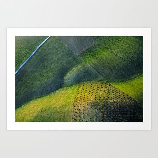 Geometries aerial at sunset Art Print