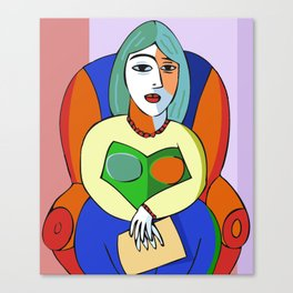 Woman With A Kindle Canvas Print