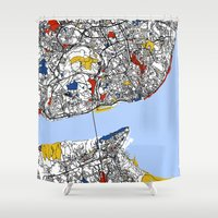 mondrian Shower Curtains featuring Lisbon mondrian by Mondrian Maps