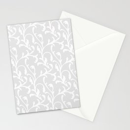 Pastel gray white abstract vintage damask pattern Stationery Cards