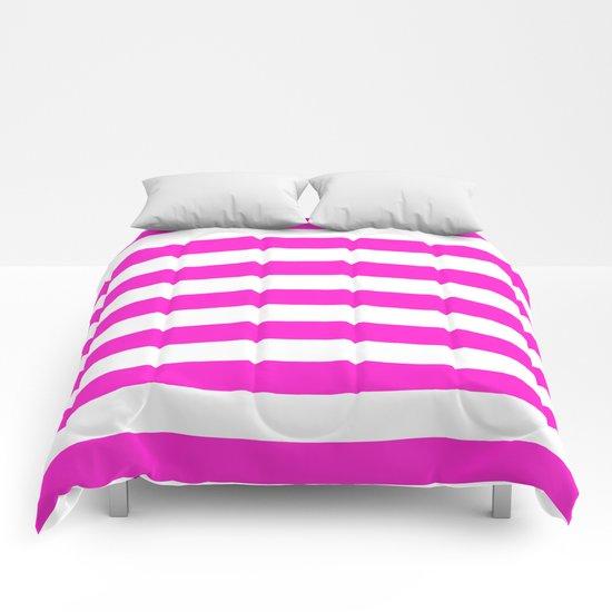 Horizontal Stripes (Hot Magenta/White) Comforters