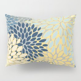 Floral Print, Yellow, Gray, Blue, Teal Pillow Sham