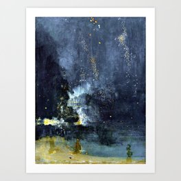 James Abbott McNeill Whistler Nocturne in Black and Gold The Falling Rocket Art Print