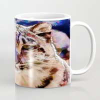 snow leopard Mugs featuring Snow Leopard  by Cathy Donohoue