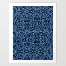 Damask flower motif sashiko stitch pattern. Art Print