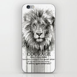 Lion Courage Motivational Quote Watercolor Painting iPhone Skin
