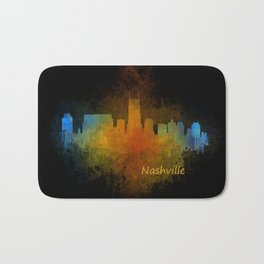 Nashville city skyline Tennessee watercolor v4 Dak Bath Mat