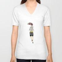 runner V-neck T-shirts featuring Runner Girl by Bari J.